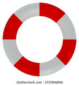3D illustration of lifebelt, isolataed on white.