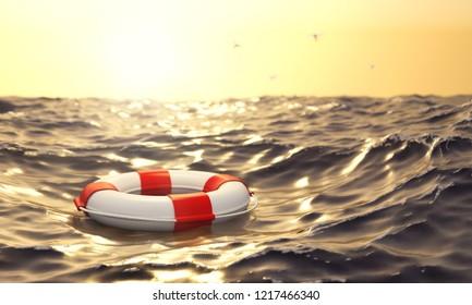3D illustration Lifebuoy in the ocean