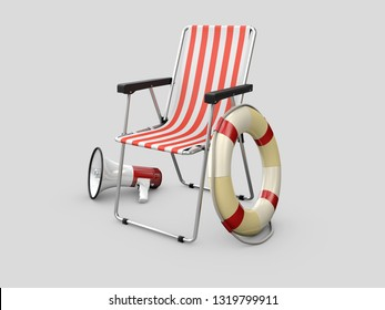 3d Illustration of Lifeguard chair with Lifebuoy and megaphone,isolated on gray background