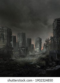 3d illustration of a lifeless ruined cityscape.