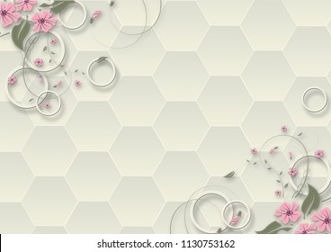 3d illustration, light background, honeycombs, rings and fabulous flowers