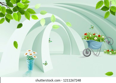 3d illustration, light background, moderate green arches, flowers in a cart, lawn, leaves in a vase, butterflies
