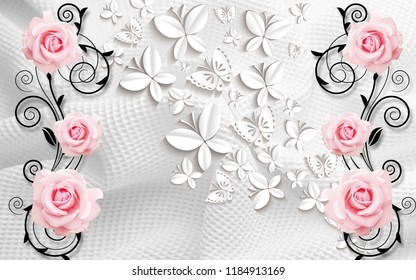 3D illustration, light background with paper butterflies and pink roses
