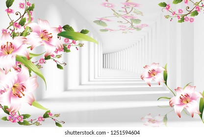 3d illustration, light background, tunnel, light and shade, pink and white lilies