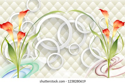3d illustration, light background, upholstery, white rings, two branches of calla