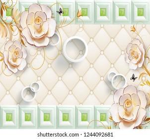 3D illustration, light background, upholstery, white rings, beige gold-plated fabulous flowers