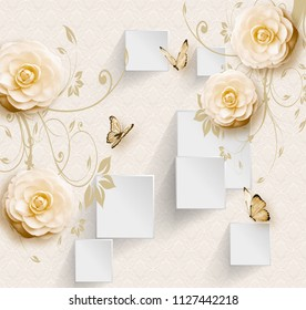 3d illustration, light background, white rectangles and beige flowers