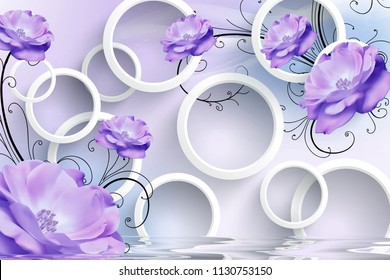 3d illustration, light background, white rings, purple flowers