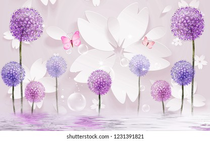 3d illustration, light background, white paper flowers, pink butterflies, colorful dandelions, reflection in water