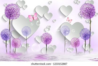 3d illustration, light background, white paper hearts, soap bubbles, glitter, colorful dandelions, reflection in water