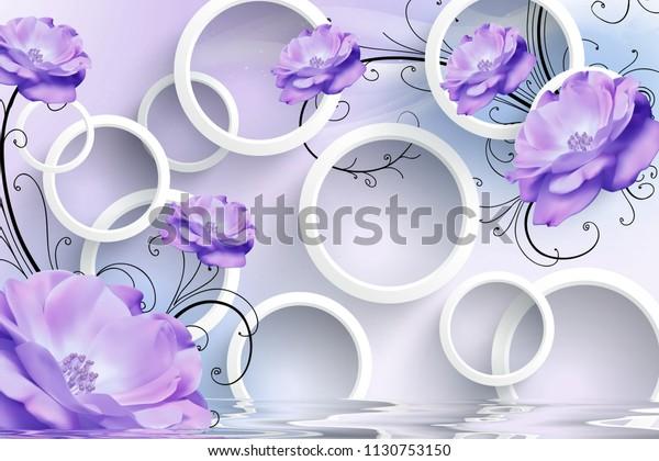 3d illustration, light background, white rings, purple flowers wallpaper design