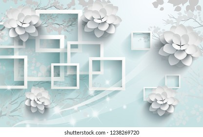 3d illustration, light blue background, white rectangular frames, gray trees in the background, large white paper flowers in the foreground