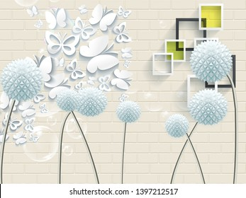 3D illustration, light brick wall, fabulous round paper flowers, white paper butterflies, bubbles, white and dark gray rectangular frames