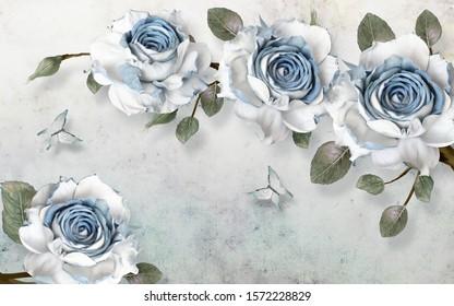 3d illustration, light grunge background, large blue and white roses