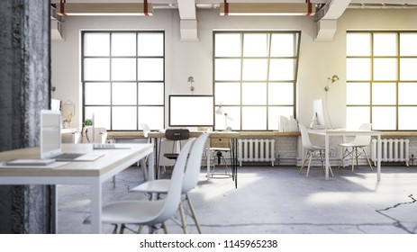 3d illustration. Light loft with computers and tables.
