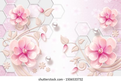 3d illustration, light pink background with hexagons, white pearls, large beige and pink fabulous flowers
