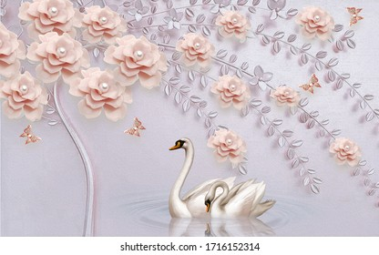 3d illustration, light pink background, a curved tree with pink pearl flowers, a pair of swans swim in the water
