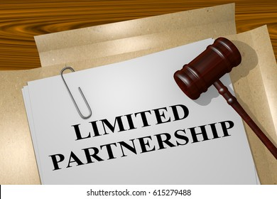 "3D illustration of ""LIMITED PARTNERSHIP"" title on legal document"