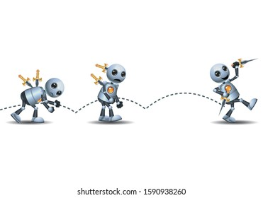 3d illustration of little robot confrontation stab from the back on isolated white background