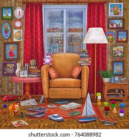 3D illustration living room design  . Cozy home  place  interior  to relax   with books, window ,lamp , toys , armchair and other accessories .