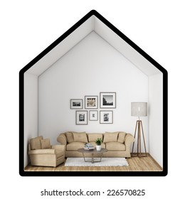 3D illustration of  living room in house shape, sofa, armchair and lamp, background