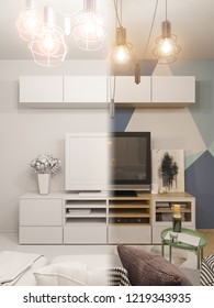 3d illustration living room interior design. Modern studio apartment in the Scandinavian minimalist style ambient occlusion