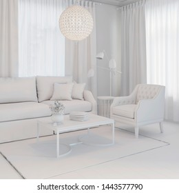 3d illustration. Сozy living room interior in white computer stuff