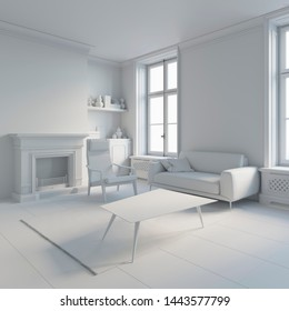 3d illustration. Сozy living room interior with fireplace in white computer stuff
