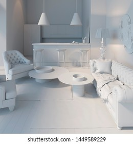 3d illustration. Living room with kitchen in white computer stuff