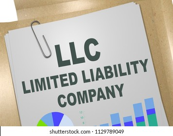 3D illustration of LLC title on business document.