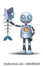 3D illustration of a llittle robot sticking it tounge out while holding rotten food on isolated white background