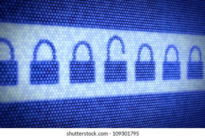3d illustration of lock concept on computer screen