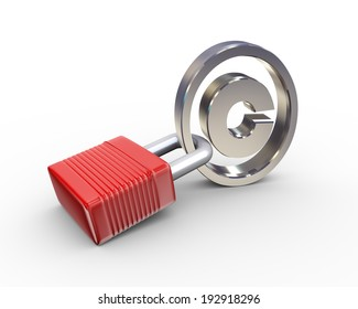 3d illustration of locked padlock and copyright symbol