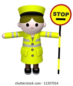 3D illustration of a lollipop Lady holding a stop sign