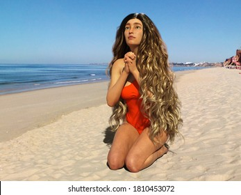 3D Illustration of a Long-Haired Girl Praying at the Beach