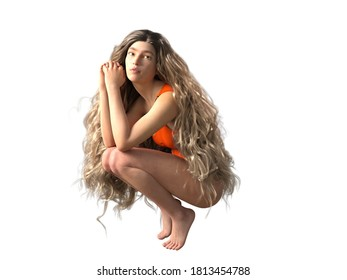 3D Illustration of a Long-Haired Woman Kneeling Isolated on White