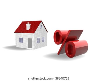 3d illustration looks real estate and per cent symbol for a white background.