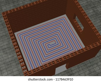 3D illustration of a looped floor heating system (2)