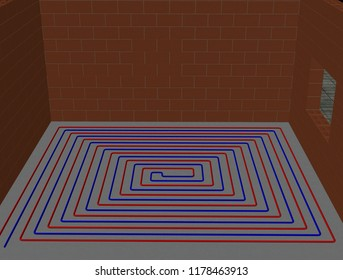 3D illustration of a looped floor heating system (3)