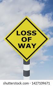 3D illustration of LOSS OF WAY script on road sign