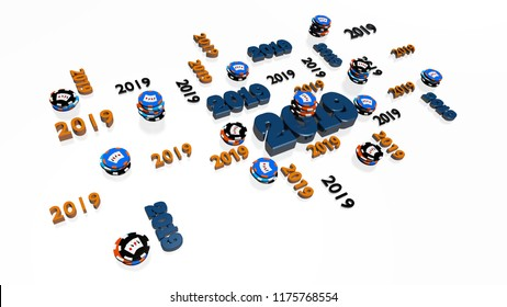 3D illustration of Lots of Casino Poker 2019 Designs with several Chips on a White Background