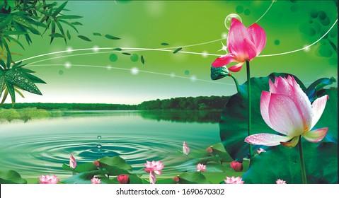 3d illustration of lotus and lake design