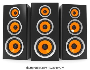 3D illustration loudspeaker music