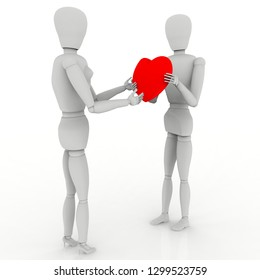 3D illustration. Love declaration. Boyfriend offers the heart on Valentine's day.