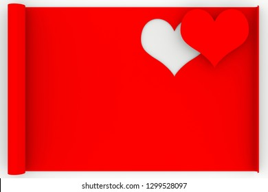 3D illustration. Love heart greeting card background. Space for text in love and Valentine's Day.