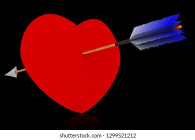 3D illustration. Love. Valentine's day. Heart pierced by an isolated arrow to symbolize love.