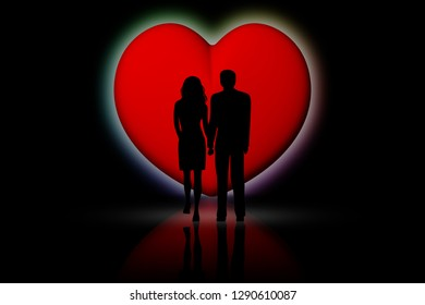 3D illustration. loving couple with red hearts background.
