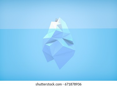 3D illustration - Low poly iceberg