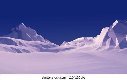 3d illustration low poly landscape snow mountain.