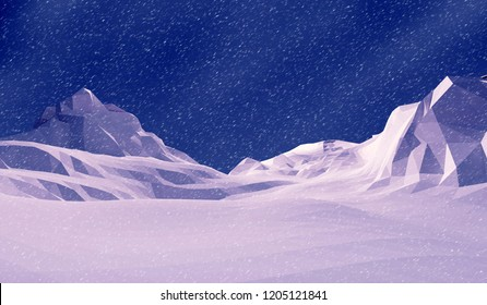 3d illustration low poly landscape snow mountain.